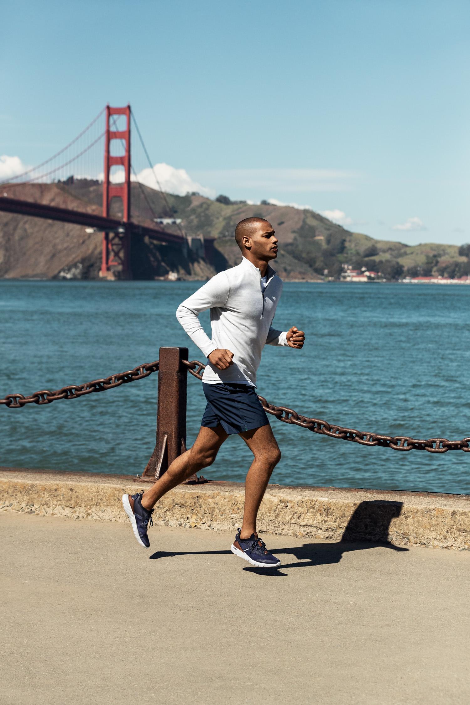 Cole Haan Men's ZERØGRAND Overtake Running Shoe in Marine Blue - Optic White