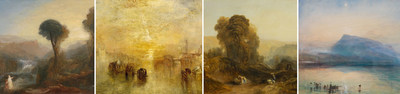 Left to right: Joseph Mallord William Turner, Tivoli: Tobias and the Angel, c. 1835. Oil paint on canvas. 90.5 x 121 cm © Tate, London 2017 // Going to the Ball (San Martino), exhibited 1846, oil paint on canvas, 61.6 x 92.4 cm © Tate, London (N00544) // Scene in Derbyshire, 1827. Oil paint on canvas, 45 x 61 cm. MNBAQ Donated by the heirs of the Honourable Maurice Duplessis (1959.579) // The Blue Rigi, Sunrise, 1842. Watercolour on paper, 29.7 x 45 cm. © Tate, London 2017 (CNW Group/Musée national des beaux-arts du Québec)