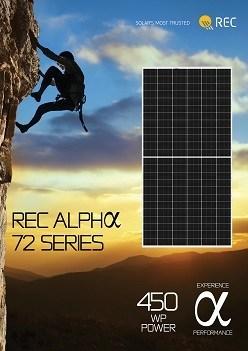 REC Alpha solar panels reaching 450 Wp