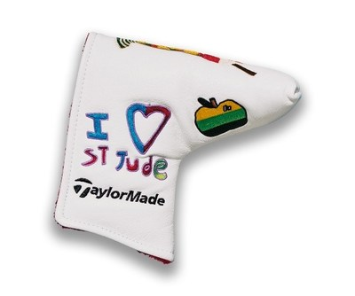 St. Jude Children's Research Hospital® patient artwork will be featured by PGA TOUR players at the World Golf Championships-FedEx St. Jude Invitational, on caddie bibs, FootJoy® shoes (L) and TaylorMade® putter covers (R). Tournament items will be available for auction at stjude.org/wgcauction. Photo credit: Shoes (ALSAC/St. Jude); Putter Covers (TaylorMade)