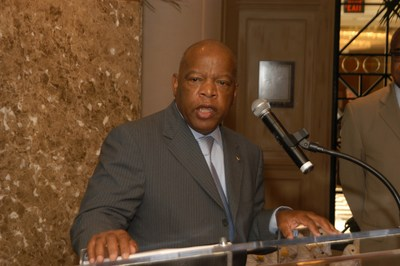 Civil rights pioneer and iconic United States Congressman John Lewis receiving Aflac's Lifetime Achievement Award at the company's annual reception with the Congressional Black Caucus in 2006