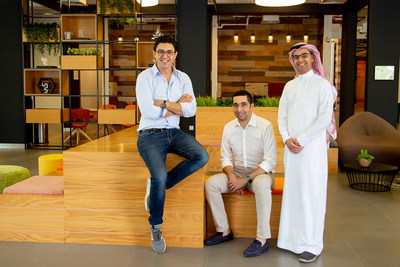 The eyewa team (from L to R) Anass Boumediene, co-founder and co-CEO, Mehdi Oudghiri, co-founder and co-CEO and Abdullah Al Rugaib, managing director of Saudi Arabia