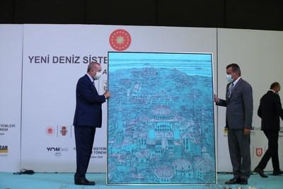 President Recep Tayyip Erdogan with Chairman of the Board Desan Shipyard Cenk İsmail Kaptanoglu