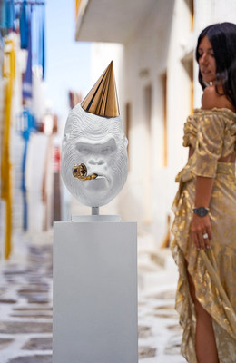 Girl views Big Bang White by Joseph Klibansky as HOFA Gallery & ARTCELS prepare to launch 'XXI' exhibition in Mykonos (Stathis Bouzoukas / HOFA Gallery) (PRNewsfoto/HOFA Gallery)