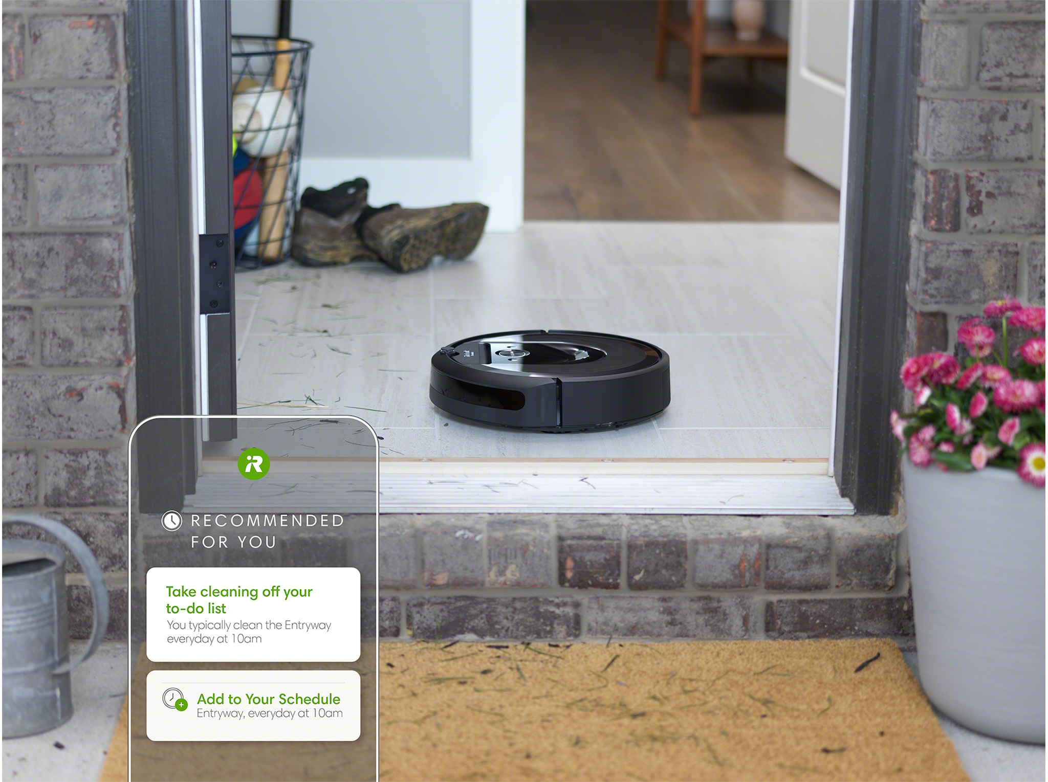 The new iRobot Home App can recommend cleaning schedules based on users' more common cleaning patterns like cleaning on Monday mornings. Roomba robot vacuums and Braava robot mops with Imprint™ Smart Mapping can also provide room-specific recommendations like vacuuming the living room on Friday evenings, or in the dining room and kitchen after meals.
