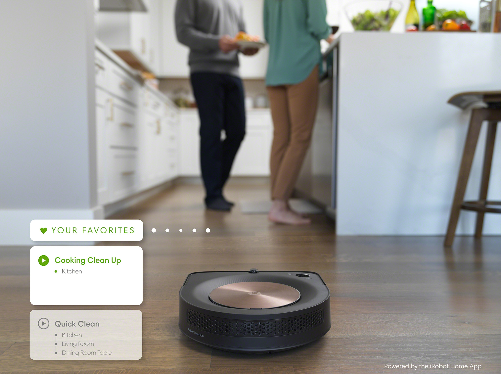 """Favorites in the new iRobot Home App enable users to quickly create and access their own pre-set cleaning routines. Create favorites like, """"After Dinner"""" that instructs the robot to clean the dining room and in front of the kitchen counter. Or """"Bedtime"""" to clean the playroom and living room floors. Or """"Everywhere"""" to clean the whole home."""
