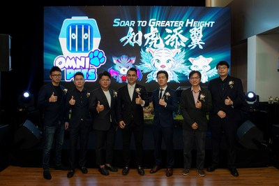 From left: Whale Media Co-Founder Austin Kong; OMC Group CFO Jack Tan; Whale Media Co-Founder TC Tang; OMC Group's CEO Jack Lee, MD Albert Khor, COO Daniel Lee and CTO Sylvester Lee at the launch of Omni Pet.