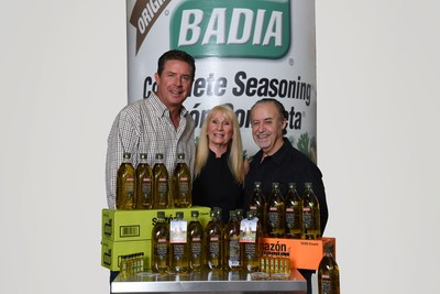 """NFL Hall of Famer Dan Marino, CEO of Dan Marino Foundation Mary Partin and President of Badia Spices, Inc. Joseph """"Pepé"""" Badia. Starting August 2020, when consumers purchase select Badia Extra Virgin Olive Oil or Badia Extra Virgin Olive Oil Organic at any retailer in the United States where Badia Spices are sold, Badia will donate 5% of the proceeds from the sales to the Dan Marino Foundation."""