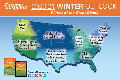 Farmers' Almanac Release Its Winter Forecast - Which Side of the Great Divide will you be on?