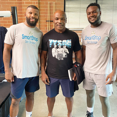 Badou Jack, Mike Tyson & Viddal Riley at the Mike Tyson Ranch in California.