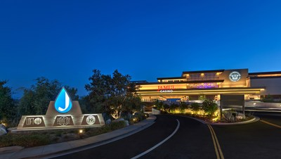 Nighttime shot of Jamul Casino, which broke ground in February 2014 and opened in October 2016.