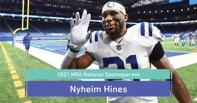 NFL running back for the Indianapolis Colts, Nyheim Hines, will raise awareness as the official 2021 spokesperson for the Muscular Dystrophy Association. Photo credit: Indianapolis Colts @Colts (Follow on Instagram @thenyny7 and @MDAorg).