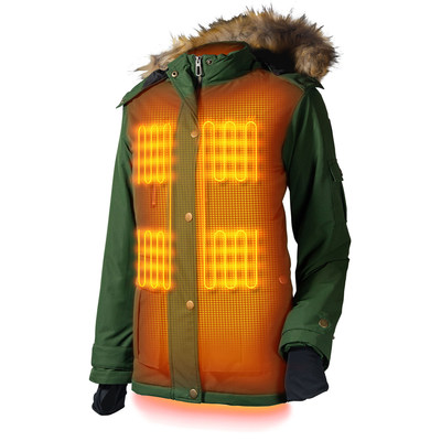 The Arcadia Heated Parka has 5 heat zones, 4 in the front and a large zone in the back, lasts up to 9 hours, and is machine washable.