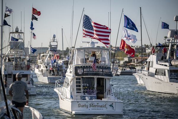 Dozens of the finest sportfishing yachts on the West Coast participated in the recent War Heroes on Water sportfishing tournament. The event, which began with a patriotic boat parade through Newport Harbor, featured 38 yachts with 100 combat-wounded veterans aboard.