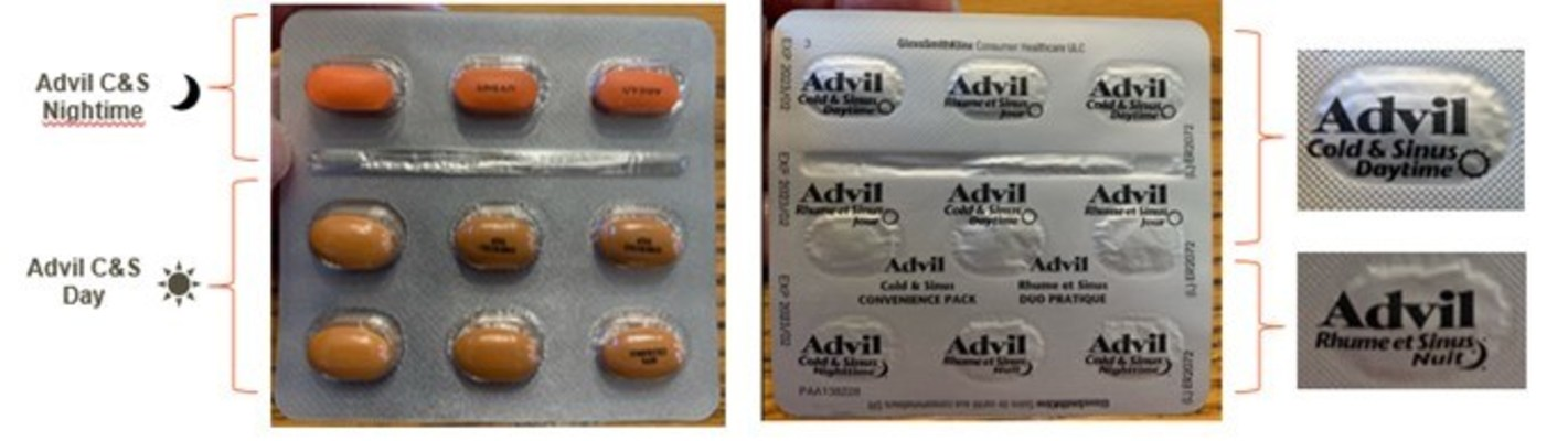 Incorrectly labelled Advil Cold & Sinus Day/Night Convenience Pack blister pack, front and back. The top row contains orange nighttime caplets, followed by two rows of beige daytime caplets. The foil backing on the blister pack is rotated upside down and misaligned, so the nighttime caplets are labelled as daytime caplets, and some daytime caplets are labelled as nighttime caplets. (CNW Group/Health Canada)