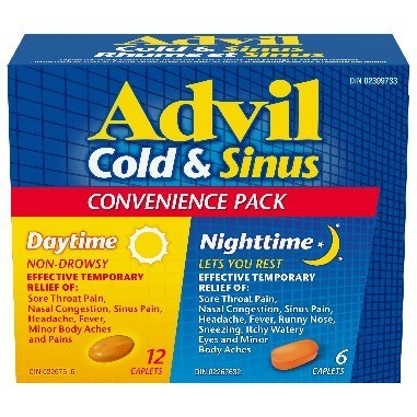 Advil Cold & Sinus Day/Night Convenience Pack Box of 18 caplets (12 daytime and 6 nighttime) (CNW Group/Health Canada)