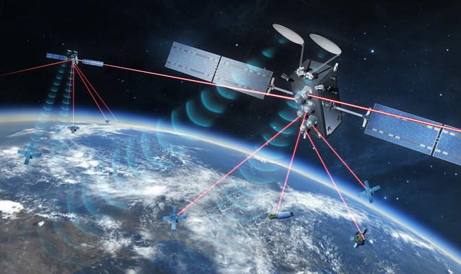 SpaceLink relay satellites on orbit showing optical and RF links